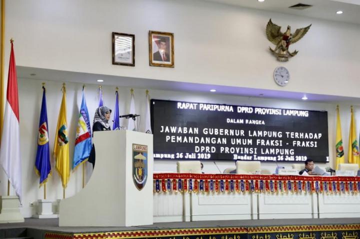 Wagub Lampung Sampaikan Jawaban Pemandangan Umum Fraksi-Fraksi DPRD Provinsi